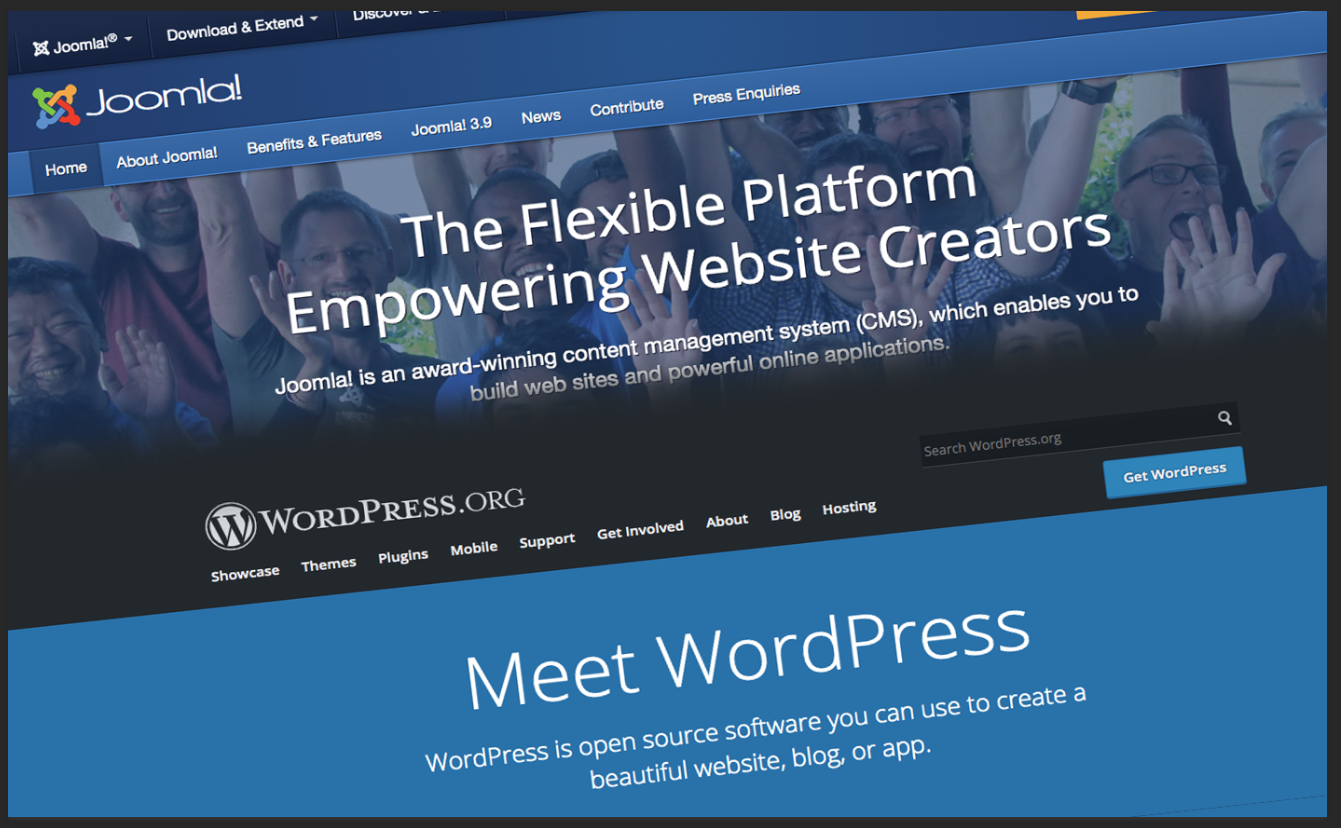 image of wordpress and joomla platforms